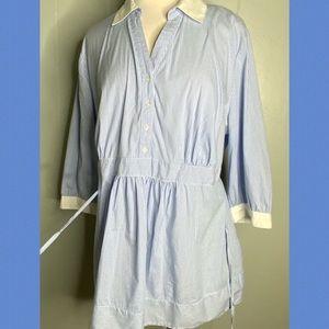Motherhood Maternity Blue/White Striped Shirt 1X